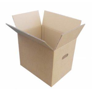 Caja de cartón marrón de 43 x 31 x 36 c/asas